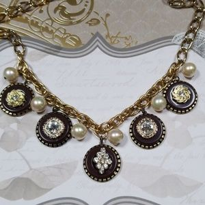 Repurposed Vintage Button & Rhinestone Necklace
